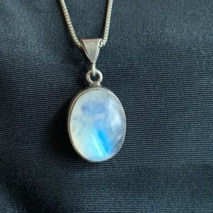 Oval Moonstone Sterling Silver Pendant Necklace